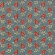 Moda Jelly Bean by Laundry Basket Quilts - 3246 - Pink Leaf Print on Blue  42152 16 - Cotton Fabric